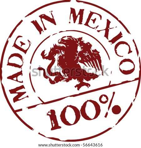 Grunge vector stamp with words Made in Mexico 100%