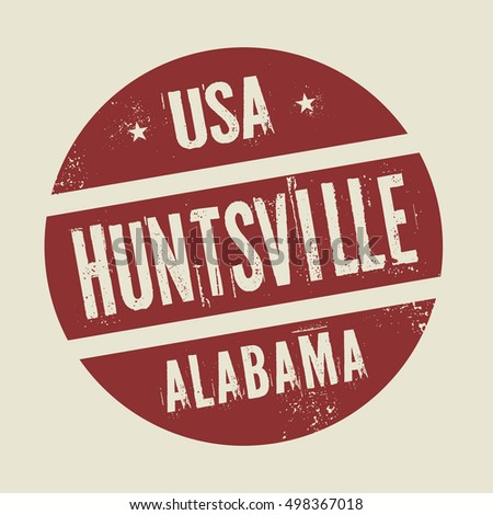 Grunge vintage round stamp with text Huntsville, Alabama, vector illustration