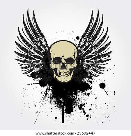 grunge vintage skull emblem