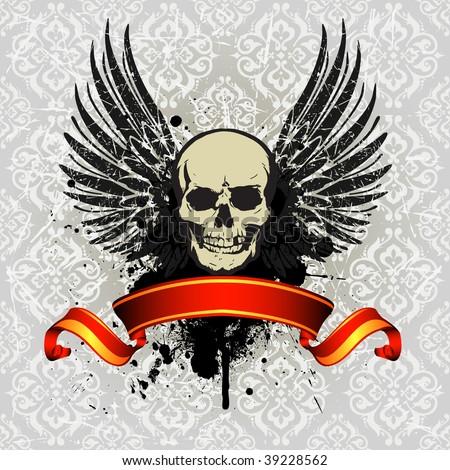 Grunge Vintage Skull Emblem with Ribbon