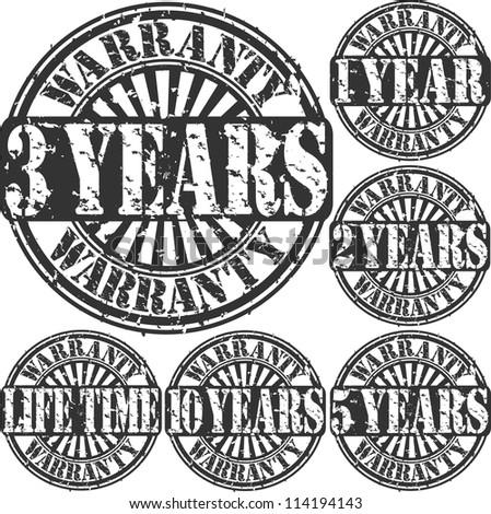 Grunge warranty rubber stamp set, vector illustration