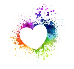 Grunge watercolor painted heart. Rainbow colors, multicolored. Love symbol.