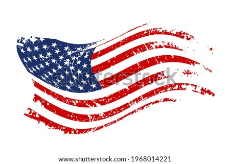 Grunge waving American flag isolated on white background. Scretched USA national symbol. Vector design element
