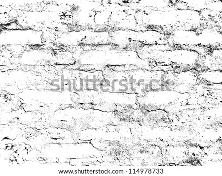Grunge white and black brick wall background. Vector illustration.