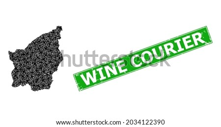 grunge wine courier badge  and