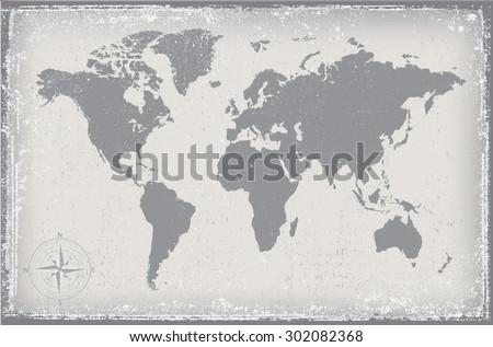 Grunge world map.Old vector world map. #302082368
