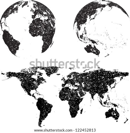 grunge world map with globes