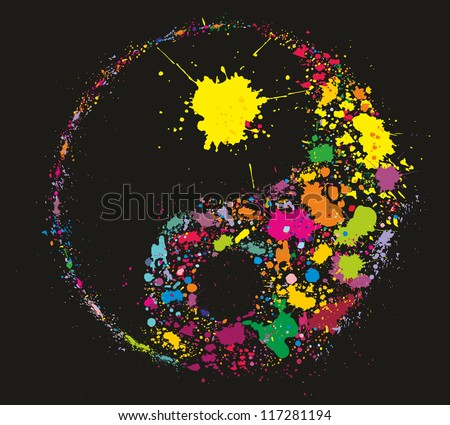 Grunge Yin Yan symbol made of colourful paint splashes on black background - vector illustration