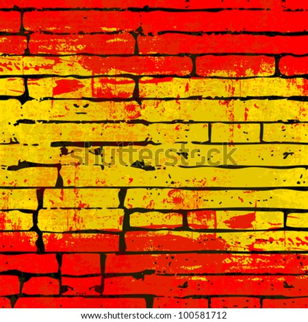Grunged Spanish Flag over a brick wall  background  illustration