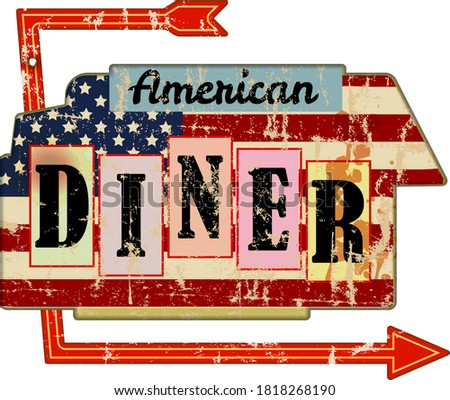 grungy american diner sign, retro grungy vector illustration Сток-фото ©