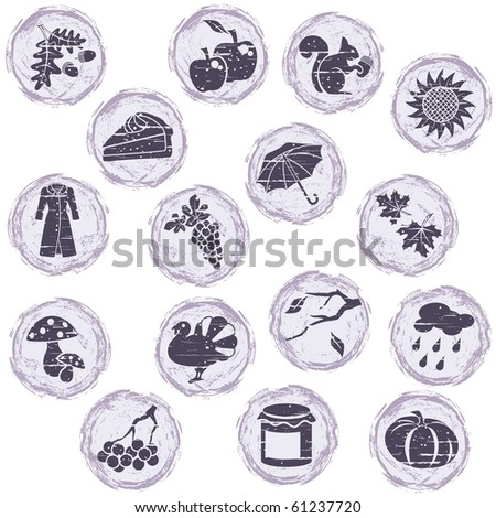 Grungy autumn icons (eps10); jpg version also available - stock vector