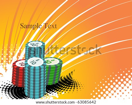 grungy background with stacks of poker chips