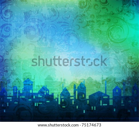 Grungy background with stylized city silhouette. vector layered, easy editable. eps10