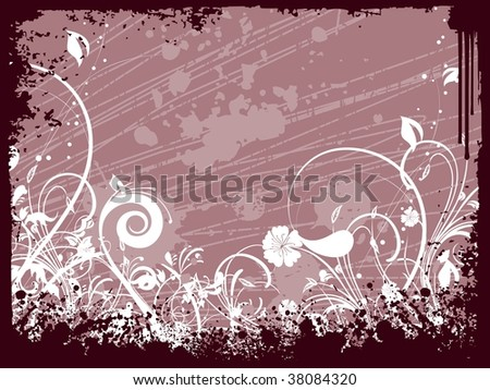 grungy border, background with creative floral design - stock vector