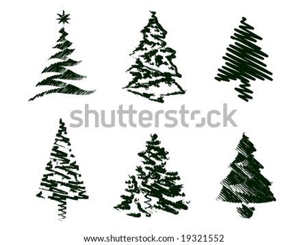 450 x 358 jpeg 35kB, Grungy Christmas Tree Sketch Set I. - stock ...