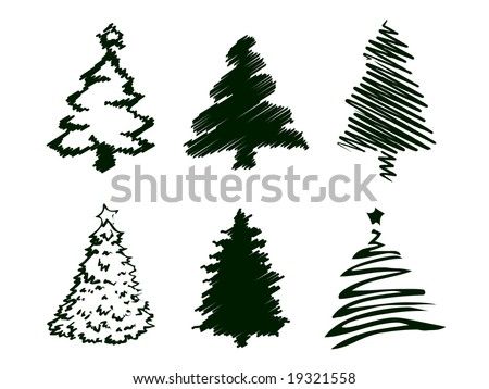 Grungy Christmas Tree Sketch Set III. - stock vector