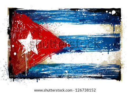 grungy cuban flag eps 8 vector