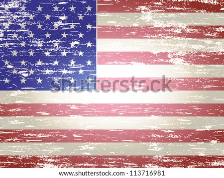 Grungy faded and distressed American flag background - stock vector