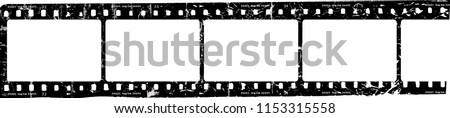 grungy film strip, blank photo frames, free space for pictures,vector,fictional artwork