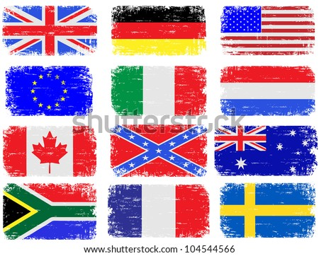 Grungy flag illustrations of the USA, Great Britain, South Africa, Australia and various European countries