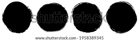 Grungy, grunge texture circle, oval abstract element. Ink spot, stain, inkblot shape. Mottle, speckle textured element