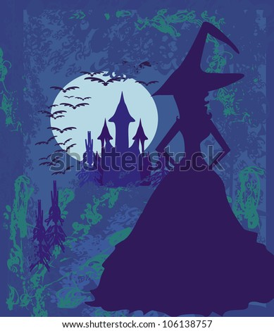 grungy Halloween background with haunted house and witch