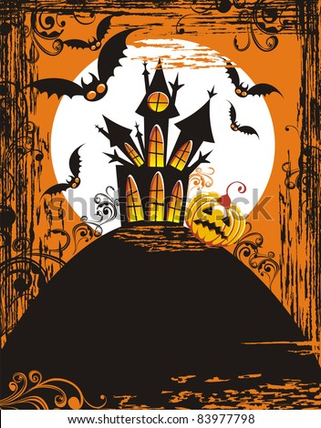 Grungy halloween background with haunted house, pumpkin, bats, and full moon