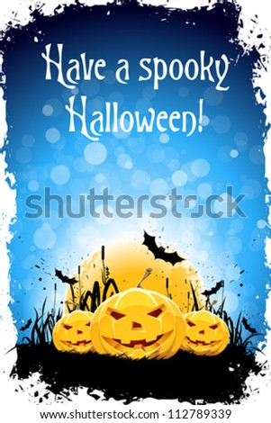 Grungy Halloween Background with Pumpkins, Bats and Full Moon