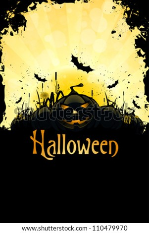 Grungy Halloween Background with Pumpkins, Bats, Grass and Full Moon - stock vector