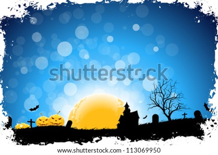 Grungy Halloween Background with Pumpkins, Bats, House and Full Moon