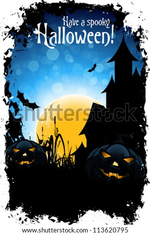 Grungy Halloween Background with Pumpkins, Bats, House and Full Moon - stock vector