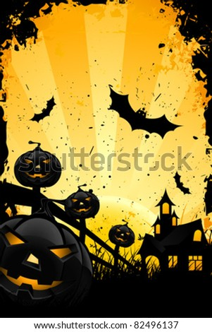 Grungy Halloween background with pumpkins  bats house and full moon