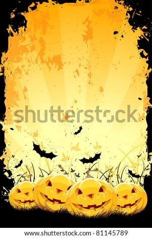 Grungy Halloween background with pumpkins in grass and bats - stock vector