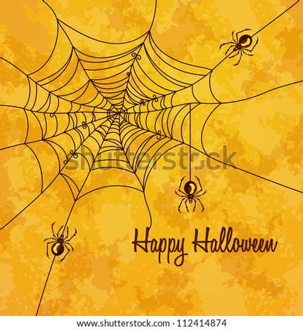Grungy halloween background with web and spiders. Vector Illustration.