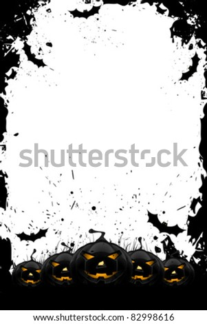 Grungy Halloween frame with pumpkins  and bats isolated on white
