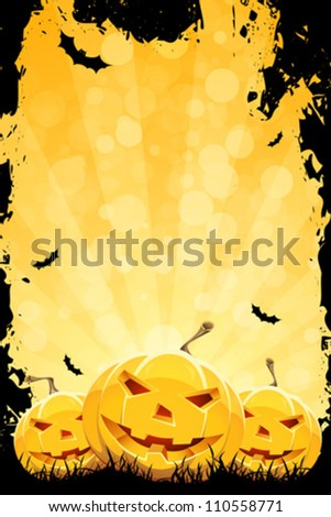 Grungy Halloween Party Background with Pumpkins and Bats