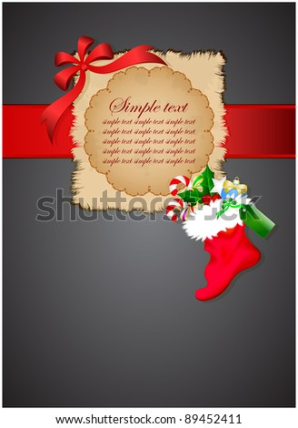 Grungy leaf on dark background with christmas boot