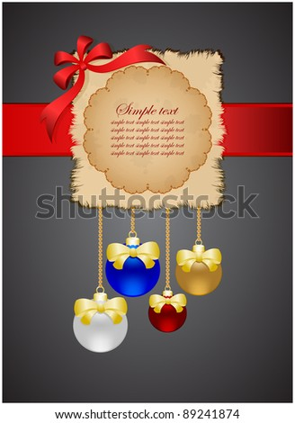 Grungy leaf on dark background with new year spheres