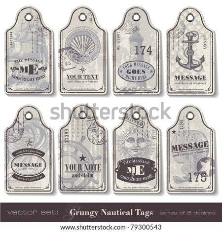 grungy nautical tags - series of eight designs