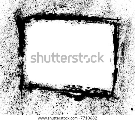 Grungy paint brush frame or border with spatter vector