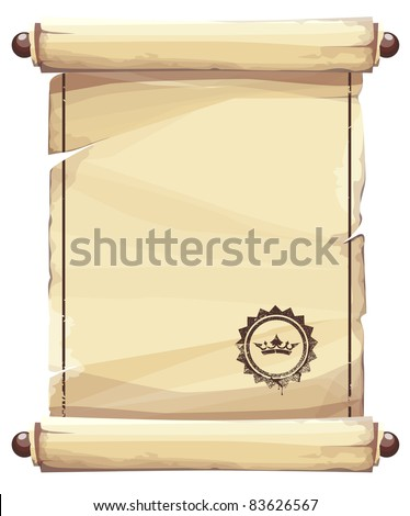 Grungy parchment background with crown emblem.