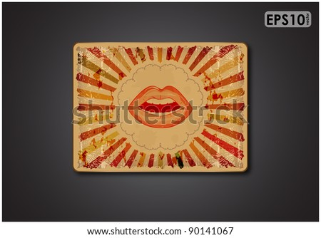 Grungy plate on black background with women parted lips