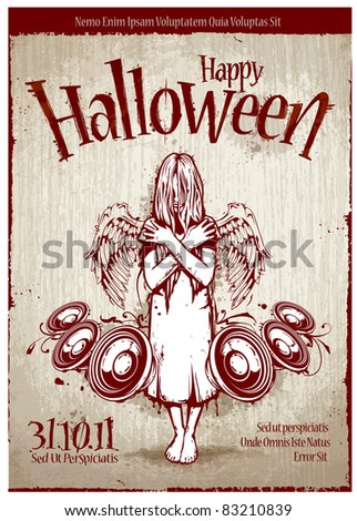 Grungy poster for halloween party. Layered. Vector EPS 10 illustration.