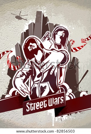 Grungy poster with two gangsters on front and urban elements on back. Vector EPS 10 illustration. - stock vector