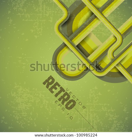 Grungy retro background in bright and dark green color and copy space for your text. EPS 10. Vector illustration.