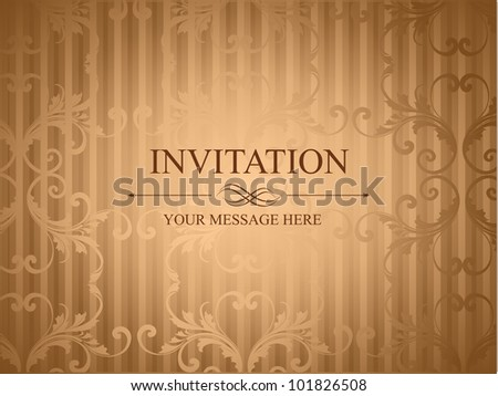 Grungy retro invitation card in brown color with floral design and copy space for your message. EPS 10. Vector illustration.