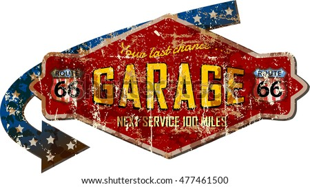 grungy retro route sixty six garage workshop sign, vector