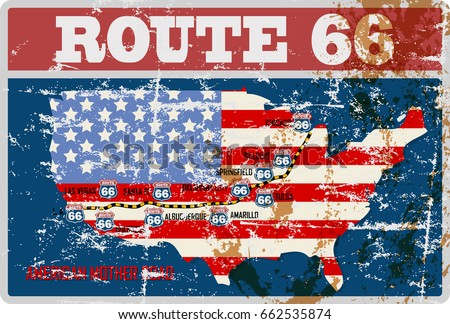 grungy route sixty six road map,retro grungy vector illustration