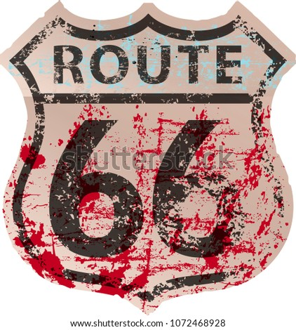 Grungy route sixty six road sign,fictonal artwork: different font and color than official road sign