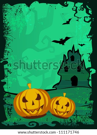 Grungy scary Halloween background with  flying bats, haunted house and scary pumpkins.. EPS 10.